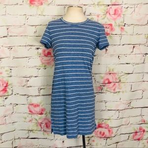 Lou & Grey striped linen and cotton t shirt dress